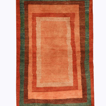 Hand-knotted Wool Orange Traditional Oriental Persian Gabbeh Rug (3'1 x 4'10)