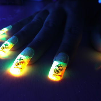 BioLumiNails- Marines -unique, glow in the dark, fake nails, gift for her, girlfriend, wife, military