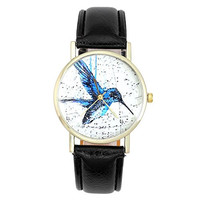 Top Plaza Women's Fashion Watch Champagne Gold Tone Hummingbirds Themed Leather Watch, Black