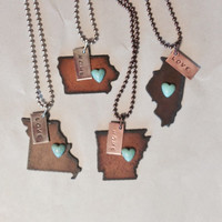 MiSSOURI IOWA ARKANSAS or Illinois State Shape Necklace faux heart and tag home or love made of rusty recycled metal