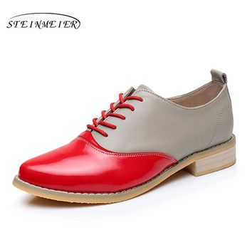 Genuine Leather Women Point Toe Vintage Flats Oxford Shoes Handmade Oxford Shoes for Women