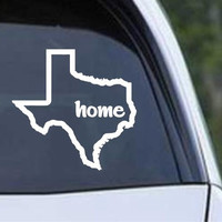Texas State Outline Home Die Cut Vinyl Decal Sticker