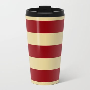 Tan and Red Stripes Metal Travel Mug by 11penguingirl