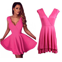 Rose Plunging Zip-Back Skater Dress