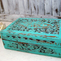 Teal Ornate Jewelry Box, Carved Wooden Jewelry Holder, Cottage Chic Aqua Trinket Box, Gift Ideas, Shabby Chic Jewelry Box, Rustic Box