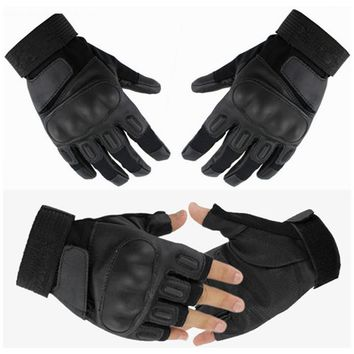 Men Military Tactical Gloves Shooting SWAT Airsoft Paintball CS Police Army Impact Protective Fight Combat Hard Knuckle Black