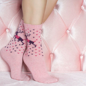 Pink Christmas deer Socks girlfriend gift