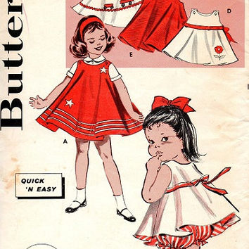 Butterick 9387 Vintage 1960s Sewing Pattern Toddler School Girl Dress Blouse Panties Circle Skirt Playsuit Size 4