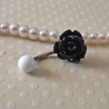 Rose Black Belly Ring 14ga Navel Ring Stainless Steel Body Jewelry flower