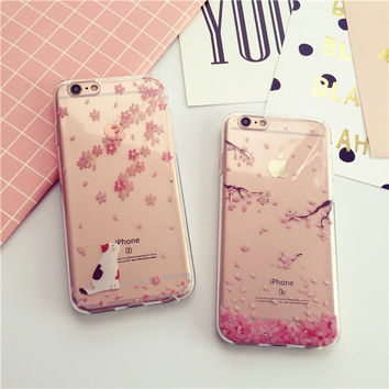 Cat and cherry blossoms mobile phone case for iphone 6 6s 6plus 6s plus + Nice gift box!