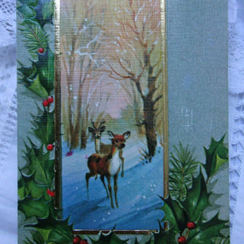 Vintage postcard.Christmas postcard.Uruguay.Ephemera.Gift.Christmas.Reindeer.Snow.Greetings postcard.Navidad.Regalo.Renos.Collectible.