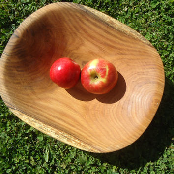 Red oak wood bowl - Wooden serving bowl - Popcorn bowl - Fruit bowl - Hand carved wood bowl - Natural edge wood bowl - Kitchen decor - Gift