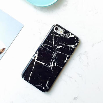 Black marble with white markings phone case for iPhone 7 7plus 6 6S 6plus 6Splus 1107JM01
