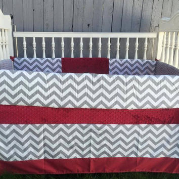 Crib Set / Baby Bedding / Chevron and Maroon