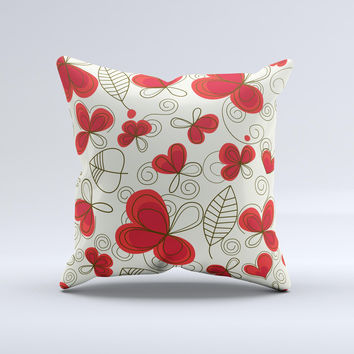 Light Tan With Red Accented Flower Petals Ink-Fuzed Decorative Throw Pillow