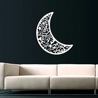 Sky Moon Stars Sun Space Decals Half Moon Crescent Wall Decal Vinyl Decals Sticker Home Interior Wall Decor for Any Room Housewares Mural Design Graphic Bedroom Wall Decal Nursery Baby Kids Children's Room (5913)