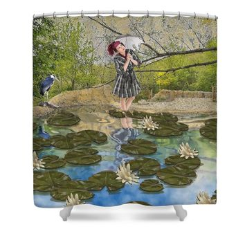 Lilly Pad Lane Shower Curtain for Sale by Liane Wright