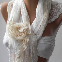 Pearl White -- Elegance Shawl - Scarf with Lace Edge......