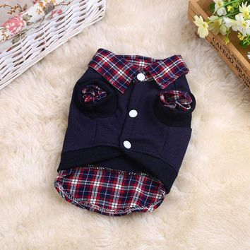 DCCKH6B Hot Sale Pet Dog Cat Shirt Puppy Warm Clothes Sweater Costume Jacket Coat Apparel With Velet Fake Two-piece Lapel Pet Clothes