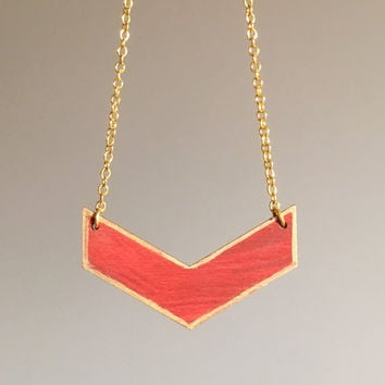 Hand painted red and gold chevron necklace.  Modern geometric laser cut wood pendant necklace with gold plated chain. Simple and OOAK.