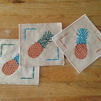 Cross stitch coaster set of three Fabric coasters Embroidery coasters Glass coasters Tea dyed drink coasters Pineapples