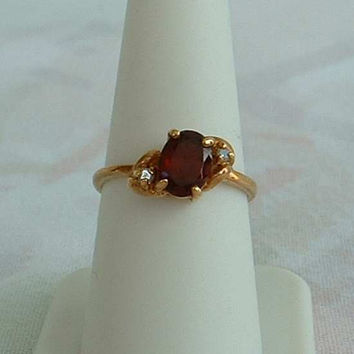 Lind Red Garnet Clear Rhinestone Ring 14K GE Size 8 Jewelry