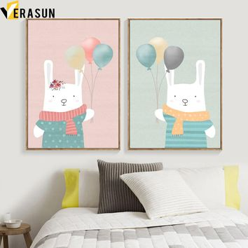Cartoon Rabbit Balloon Nordic Poster And Prints Wall Art Canvas Painting Pop Art Wall Pictures Kids Room Baby Girl Room Decor