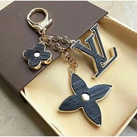 LV Fashion Multicolor Women Letter Key Ring Bag Accessories Jewelry +Best Gift Black I12694-1
