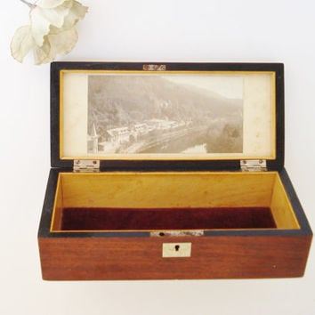 Vintage Rare Brass Inlaid Box With Antique Photograph Under Glass, Wood and Brass Jewelry Box, Trinket Box, Vanity Box, Keepsake Box
