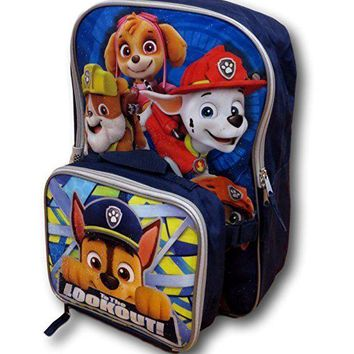"Licensed Paw Patrol Marshall & Chase 16"" Backpack with Lunch Kit"