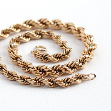 Vintage Rope Necklace - Chunky Rosy 12k Yellow Gold Filled Necklace - Retro 1970s Substantial Statement Jewelry Gift for Her Layering Piece
