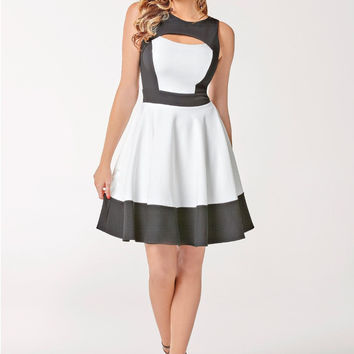 Cross Back Cut Out Pleated Skater Dress