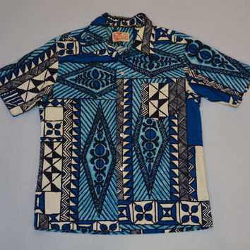 Men's Hawaiian Aloha Shirt - Vintage Mid Century Retro Tiki Polynesian Print Men's Size S Small by Sears Hawaiian Fashions