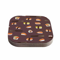 "Strawberringo ""Sushi Pattern"" Orange Brown Coasters (Set of 4)"