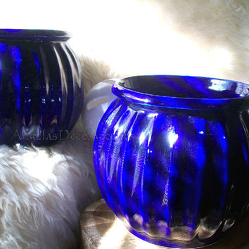 Vintage Pair of Gardener's Eden Glazed Pottery, Cobalt Blue Round Ribbed MOD Planters, Made in Poland Very Good Condition, Set of 2 Matching