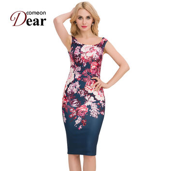 RB80210 New Design Floral Print Pencil Dresses For Women 2017 Summer Style Elegant Vintage Dress Cheap Clothes Bodycon Dress