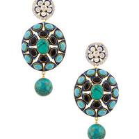 SPECIAL DESIGNER EARRINGS CZ, ENAMEL & COLOR STONES TURQUOISE BLACK