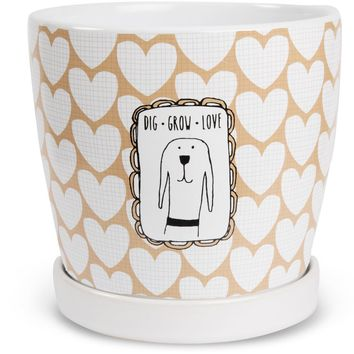 Dig Grow Love Planter Pot with Saucer