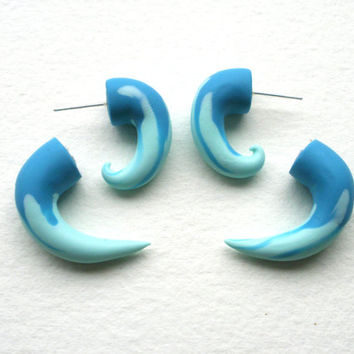 Surging Tide Fake Gauge Small Spiral Earring- Piercing - Teal- Light Blue- Water -Wave