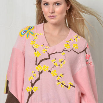 Cashmere Poncho - Pink Kyoto /up cycled
