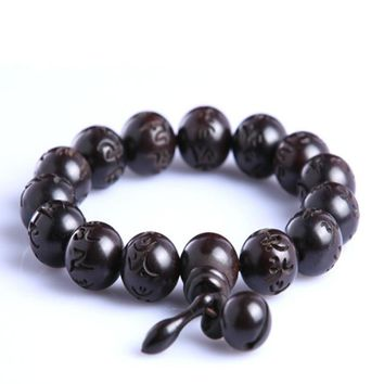 Sennier natural hand carved peach wood bead bracelets Tibeten buddha prayer mala rosary Men's Women meditation couple bracelet