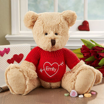 Personalized Valentine's Day Bear with Embroidered Sweater