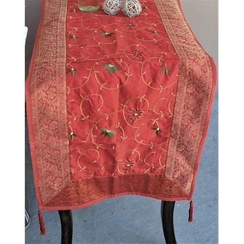 """Red Luxury Silk Table Runner with Brocade Border in Antique Gold 80"""" x 20"""""""