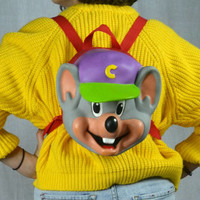 90s cartoon Chuck e Cheese mouse purple  hard foam backpack rucksack purse
