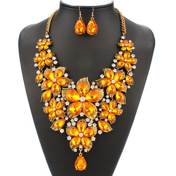 Yellow Faux Pearl Floral Chain Necklace and Earrings