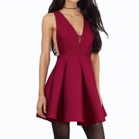 Sleeveless Sweetheart Neck Flare Dress