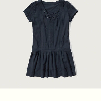 Lace Up Eyelet Shift Dress