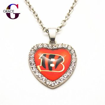 6pcs Fashion Cincinnati Bengals Football Sports Charms Heart Crystal Necklace Pendant With 50cm Chains For Women Diy Jewelry