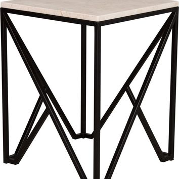 Large Kory End Table Powdercoated Black With A White Granite Top