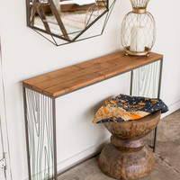 Recycled Wood Console Table with Wire Woodgrain Detail